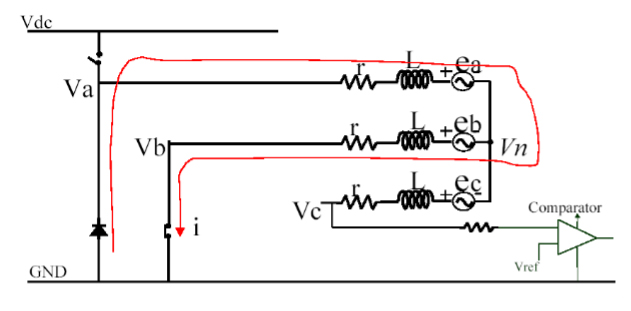 Neutral voltage of PWM OFF interval